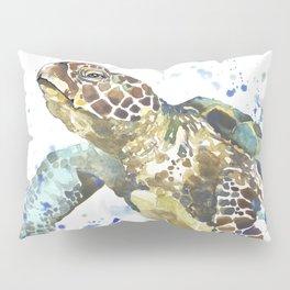 Abstract Watercolor Sea Turtle on White 2 Minimalist Coastal Art - Coast - Sea - Beach - Shore Pillow Sham