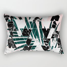 Modern geometric triangles black white abstract marble pattern palm tree leaf pink ombre Rectangular Pillow