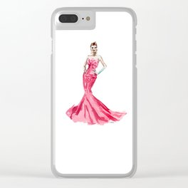 Sabrina / Hepburn Fuschia Pink Red | Fashion Gown Dress Clear iPhone Case