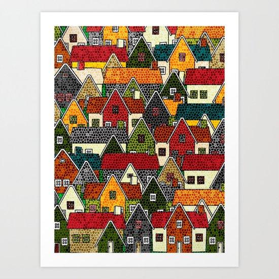Small Mosaic Village Art Print