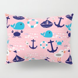 Summer boat pink Pillow Sham