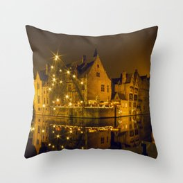 Night at Brugge Throw Pillow