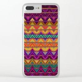 Retro Vibrant Lines Print 1 Clear iPhone Case