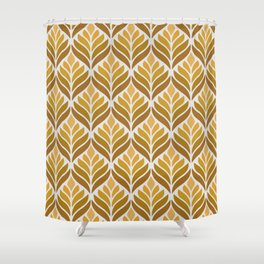 Yellow Retro Flower Pattern Shower Curtain
