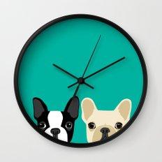 Boston Terrier & French Bulldog 2 Wall Clock