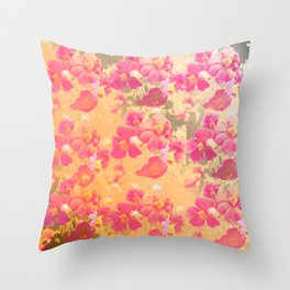 flowers, flowers, rose, silver, orange, gold, colored, vintage, elegant, textile, Throw Pillow