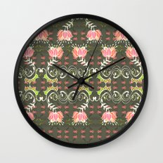 Lotus and some other squiggly lines  Wall Clock