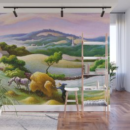 Classical Masterpiece 'Chilmark Hay' by Thomas Hart Benton Wall Mural