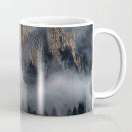 Mountains with fog through spruce forest Coffee Mug