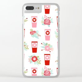 Coffee floral bouquet painted flowers for valentines day gifts coffee lovers must haves Clear iPhone Case