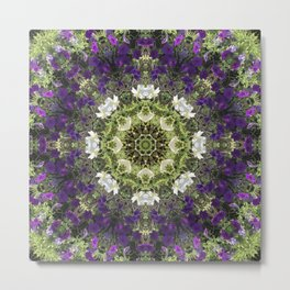 Icy White and Rich Violet Petunias Kaleidoscope Metal Print