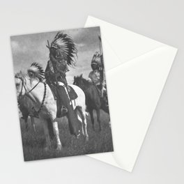 Sioux Native American First Nation Chiefs on the plains black and white photograph  Stationery Cards