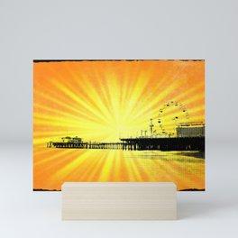 Santa Monica Pier Yellow Sunburst Mini Art Print