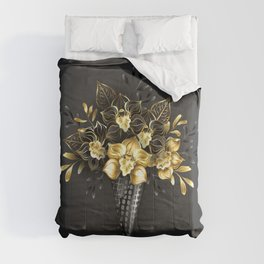 Waffle Cone with Black Golden Orchids Comforters