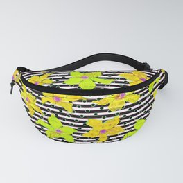 Yellow Bumblebee Flowers and Stripes Pattern Fanny Pack