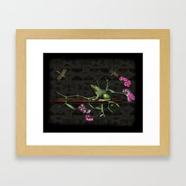 Frog and Dragonflies Framed Art Print