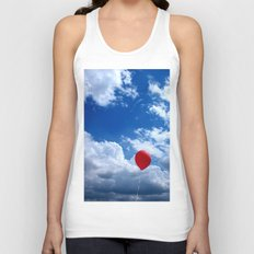 Red on Blue Unisex Tank Top