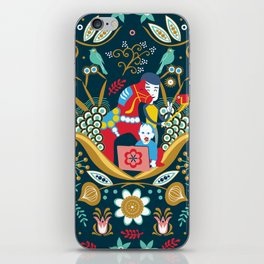 Technological folk art iPhone Skin