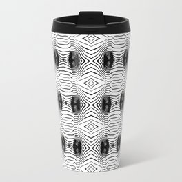 black wave lines  Metal Travel Mug