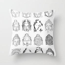 Many Buddhas Throw Pillow