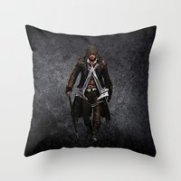 assassins creed Throw Pillows featuring assassins - assassins by alexa