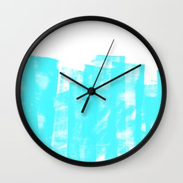 Rolled Ink Texture in Bright Cyan Blue and White Wall Clock