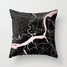 Philadelphia - Black and Rose Gold Throw Pillow