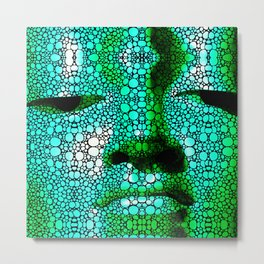 Green Buddha - Stone Rock'd Art By Sharon Cummings Metal Print