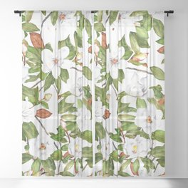 Watercolor Magnolia Flowers Sheer Curtain