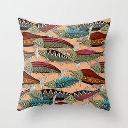 Alaskan salmon peach Throw Pillow