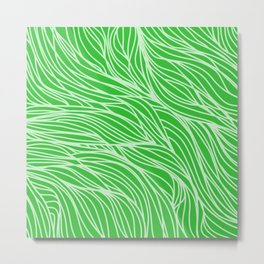 Grass Green Wave Lines Metal Print