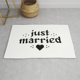 just married couple wedding gift pixel heart Rug