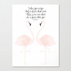 Flamingos on White Canvas Print