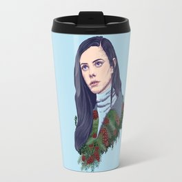 winter girl between pine cones and needles Travel Mug