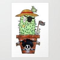 luffy Art Prints featuring Cactus Luffy by Vania Pietronigro