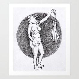 bear naked lady Art Print