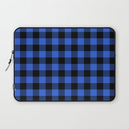 Royal Blue and Black Lumberjack Buffalo Plaid Fabric Laptop Sleeve