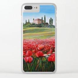 Italian Poppy Field Clear iPhone Case