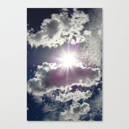 Silver Linings sun through the clouds Canvas Print
