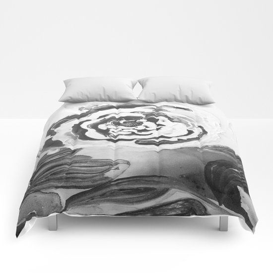 Mother's Day Roses Silver Year Black and White Comforters