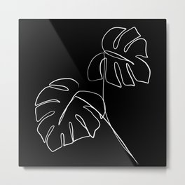 Monstera minimal - black Metal Print