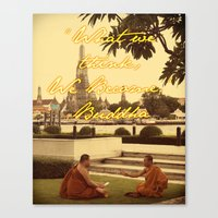 buddah Canvas Prints featuring BUDDAH by M.KATZ DESIGNS