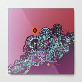 Detailed diagonal tangle, pink and purple Metal Print