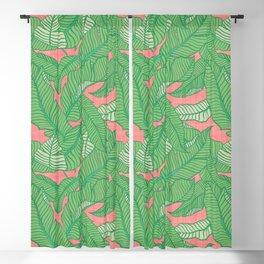 Banana Leaf Pattern Pink - Art by Jen Montgomery Blackout Curtain
