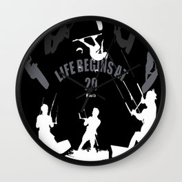 Life Begins At 20 Knots For Kitesurfers (White) Wall Clock