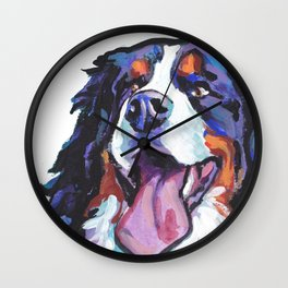 Berner Bernese Mountain Dog Portrait Pop Art painting by Lea Wall Clock