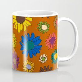 Funky Fall Harvest Floral in Terracotta Rust Coffee Mug