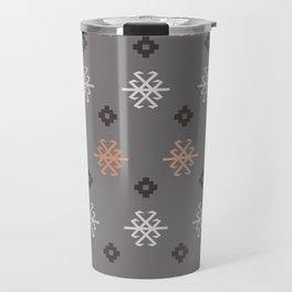 Boho Baby // Middle Eastern Metallic // Scorpion Symbol + Geometric Floral in Charcoal Travel Mug