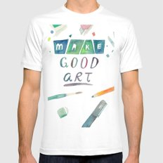 Make Good Art White SMALL Mens Fitted Tee