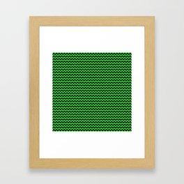 Mini Dark Black and Bright Monster Green Halloween Chevron Stripes Framed Art Print